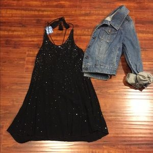 Free People Black Sequined Tunic Top W/Fringed Tie